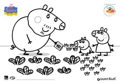 Peppa Pig Disegni Da Colorare Peppa Pig E George Nell Orto Con