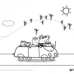 Peppa Pig: disegni da colorare: Peppa Pig in automobile