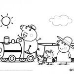 Peppa Pig: disegni da colorare: Peppa Pig sul treno con Nonno Pig