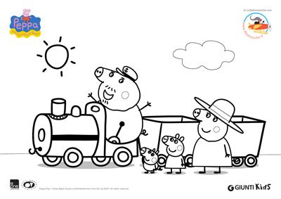 Peppa Pig Disegni Da Colorare Peppa Pig Sul Treno Con Nonno Pig