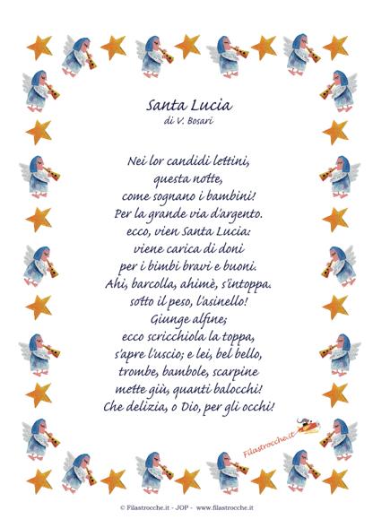 Poesie Per Santa Lucia E Preparativi Per La Festa Filastroccheit