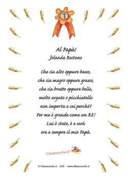 Idea Regalo Per La Festa Del Papà Poesie In Cornice Filastrocche It
