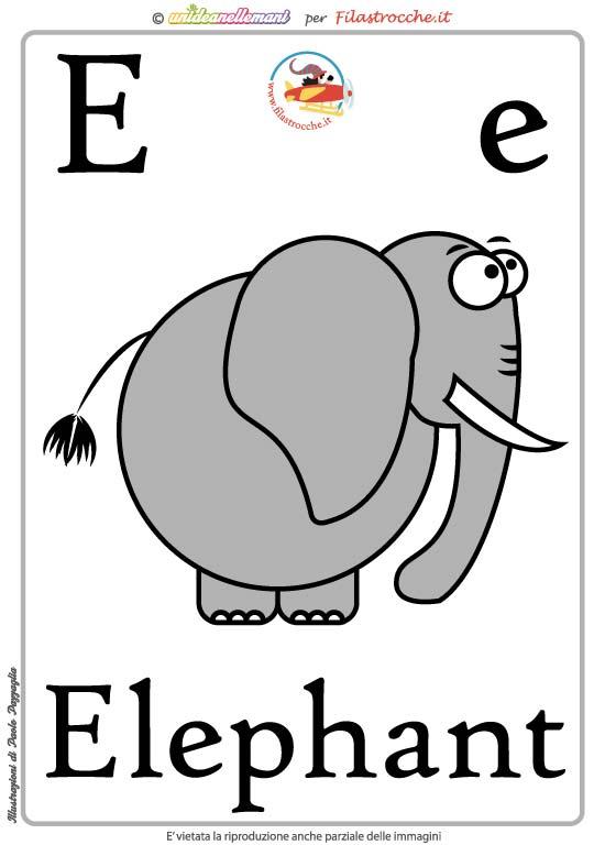 Schede alfabeto inglese da stampare lettera e - Lettere animali da stampare ...