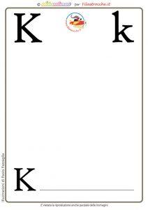 scheda alfabeto lettera K vuota