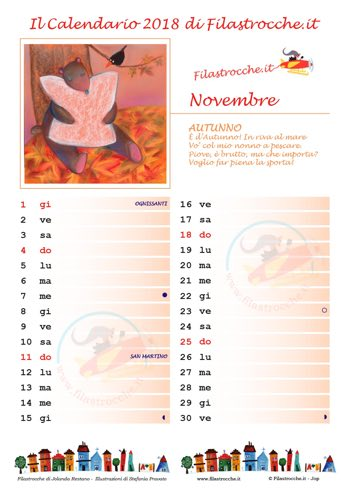 Calendario 2018 con spazio per le note
