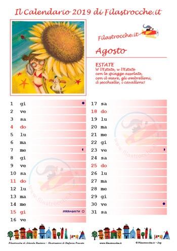 Calendario 2019 con spazio per le note