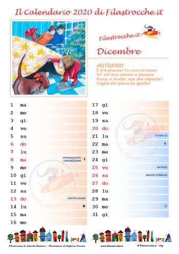 Calendario 2020 con spazio per le note