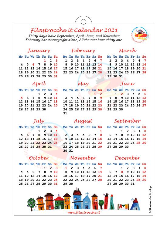 Calendari 2021 in inglese