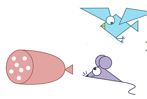 Il topino, l'uccellino e la salsiccia